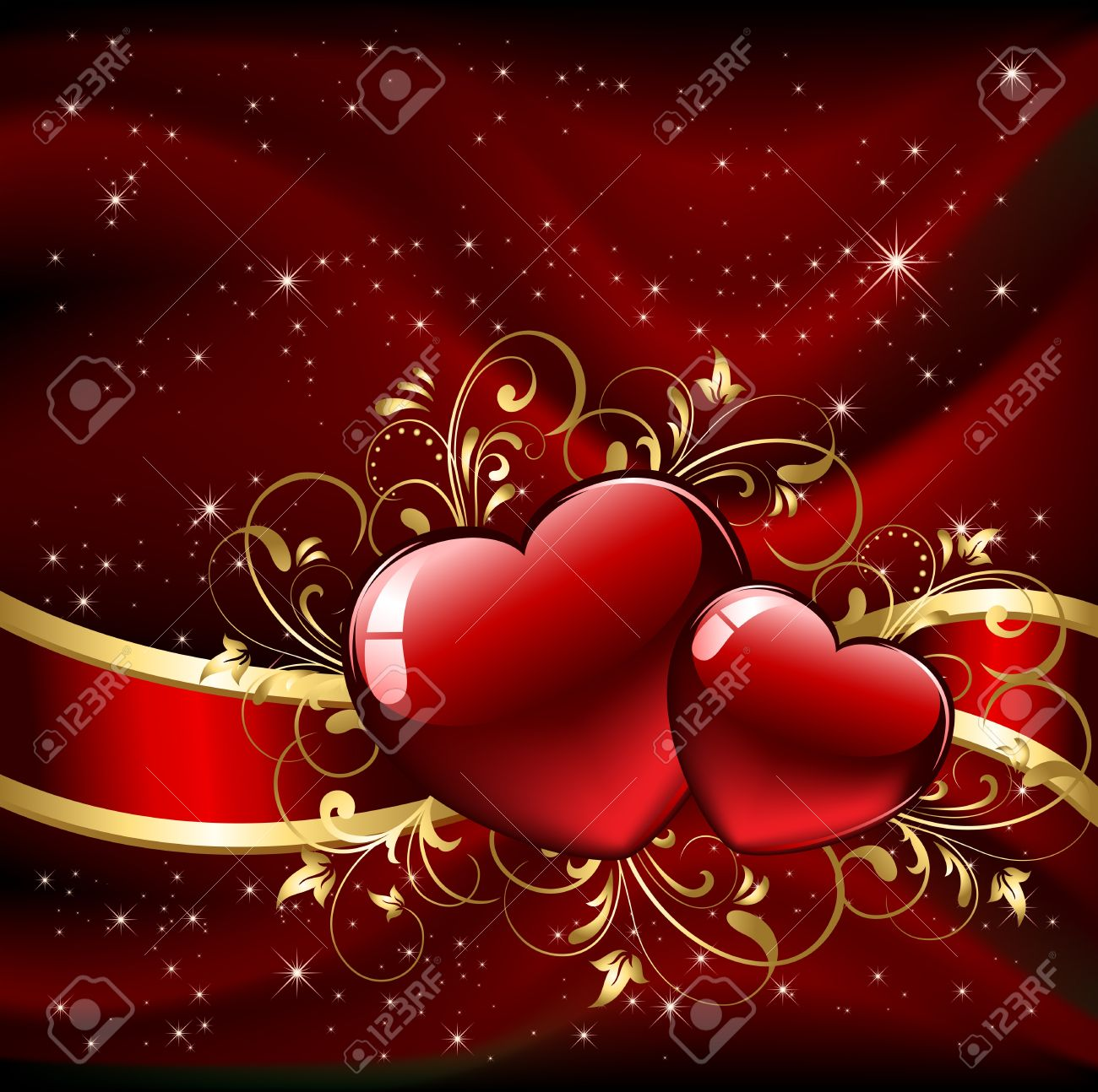Background with red Hearts, illustration Stock Vector - 11640083
