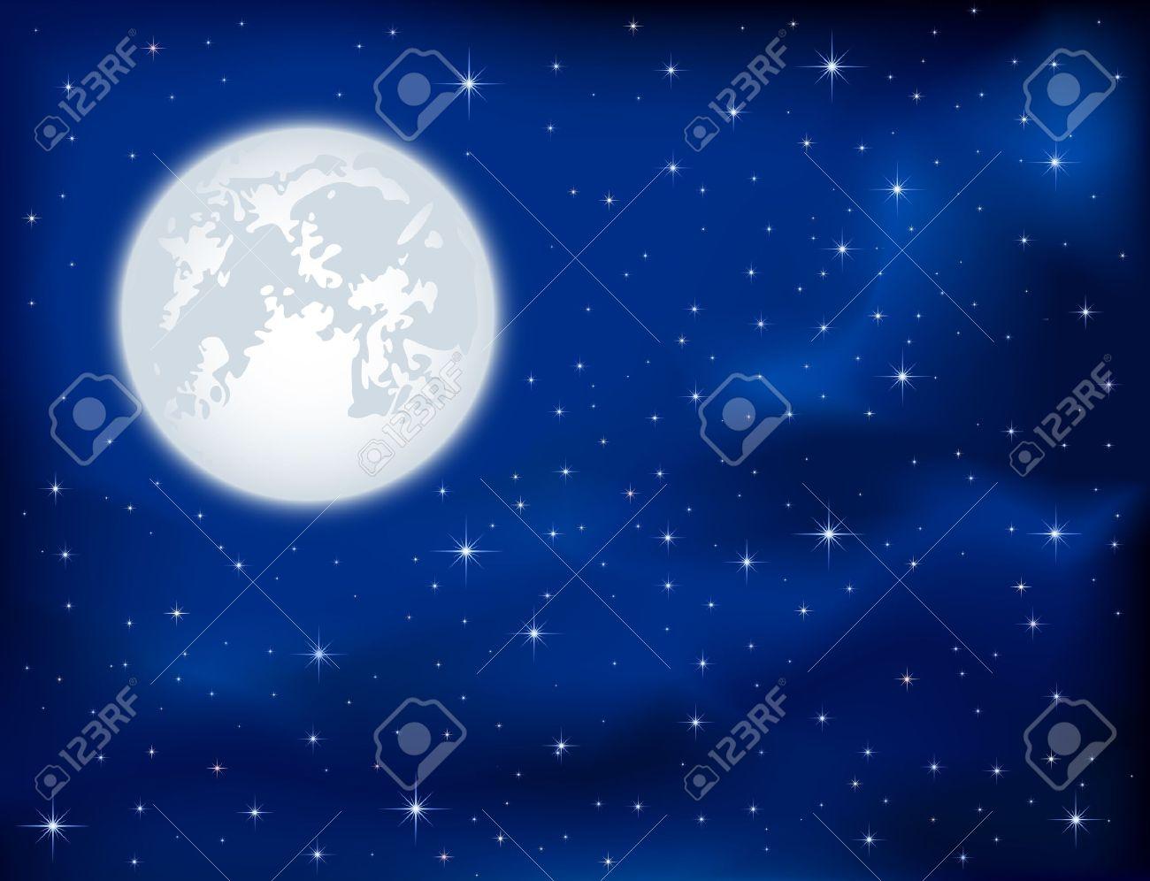 Night background, shining Stars and Moon on dark blue sky, illustration Stock Vector - 12445837