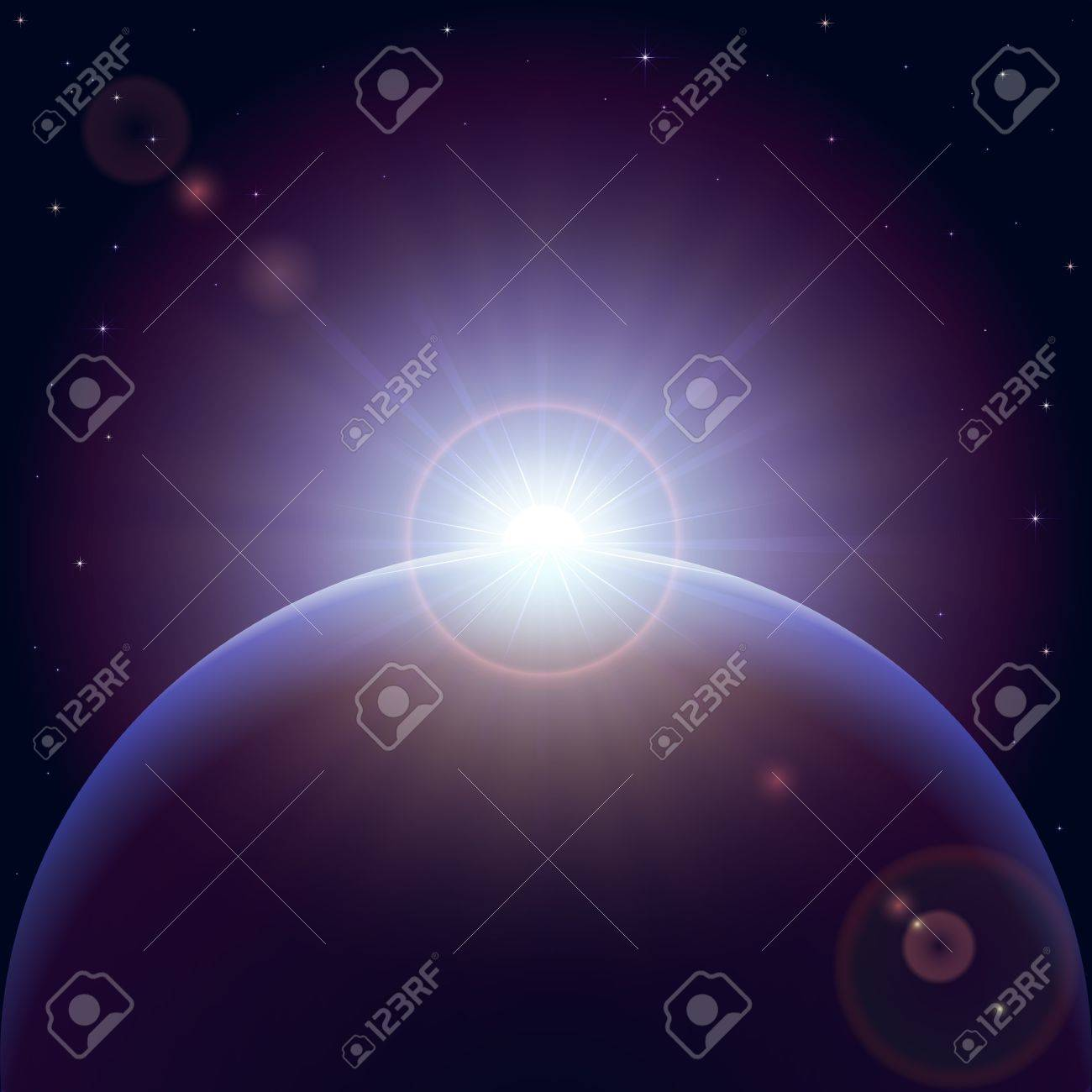 Space background with planet and shining sun, illustration. Stock Vector - 12803078