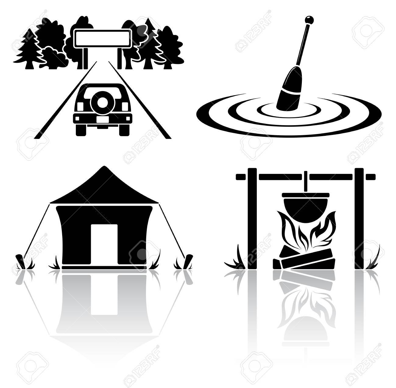 Set of black camping icons, illustration Stock Vector - 12803591