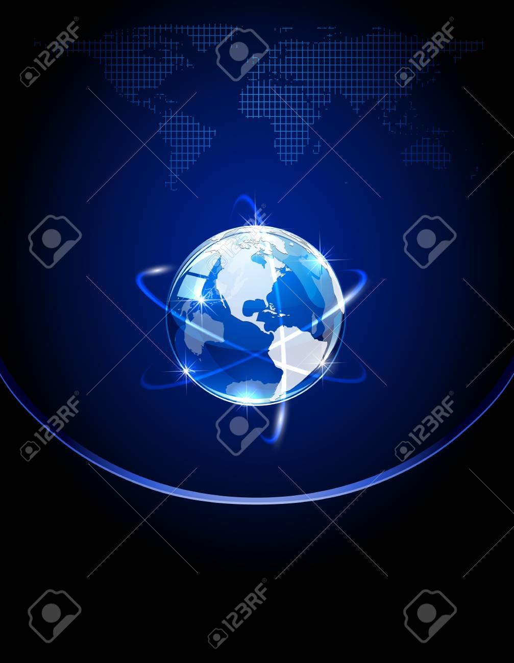 Blue shiny globe on dark background, illustration Stock Vector - 13902813