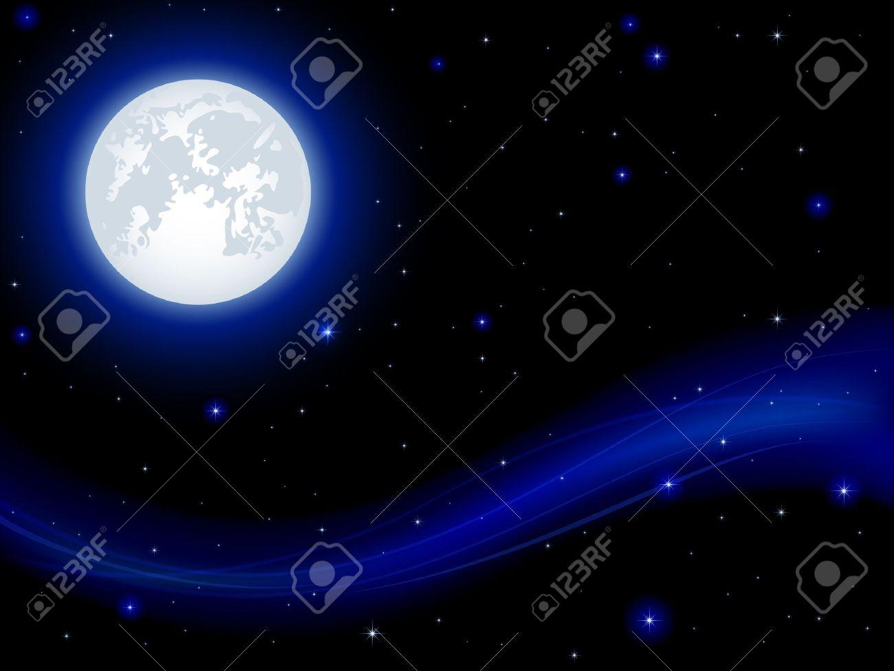 Night background, shining Stars and Moon on dark blue sky, illustration Stock Vector - 14886957