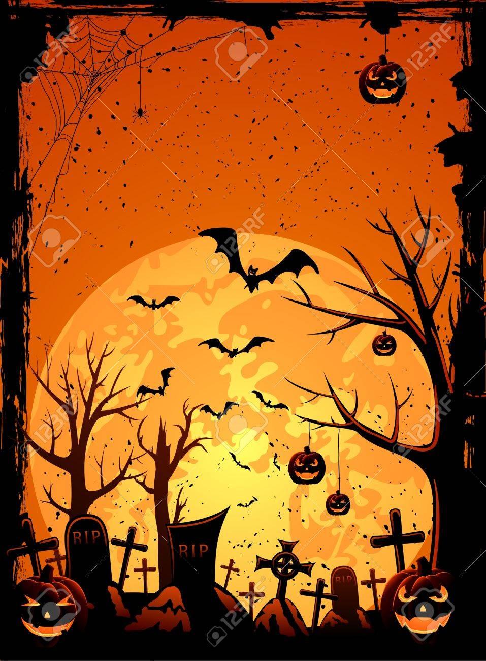 Grunge Halloween night background, illustration Stock Vector - 15218494