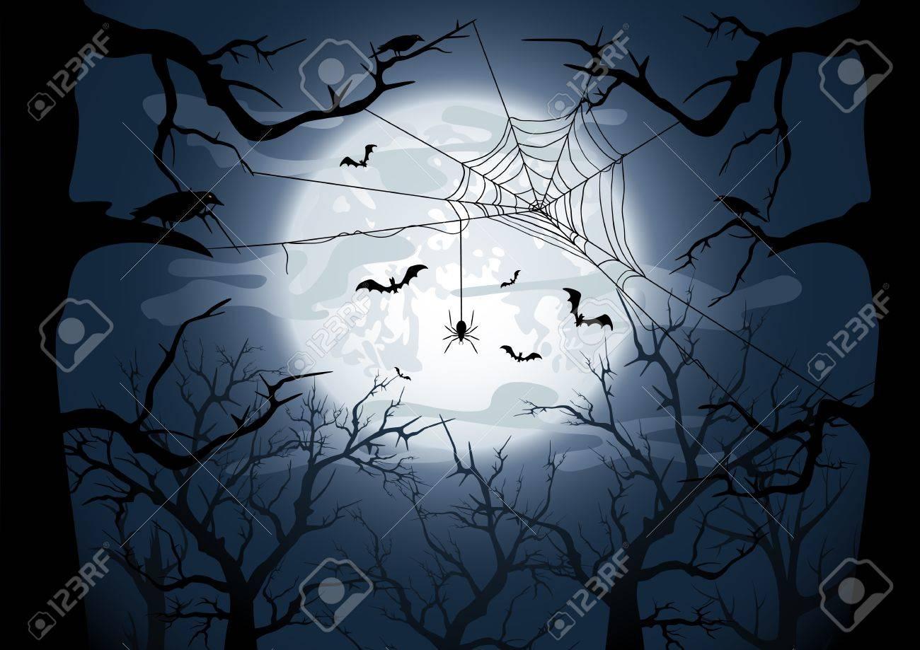 Scary Halloween night background, illustration Stock Vector - 15594469