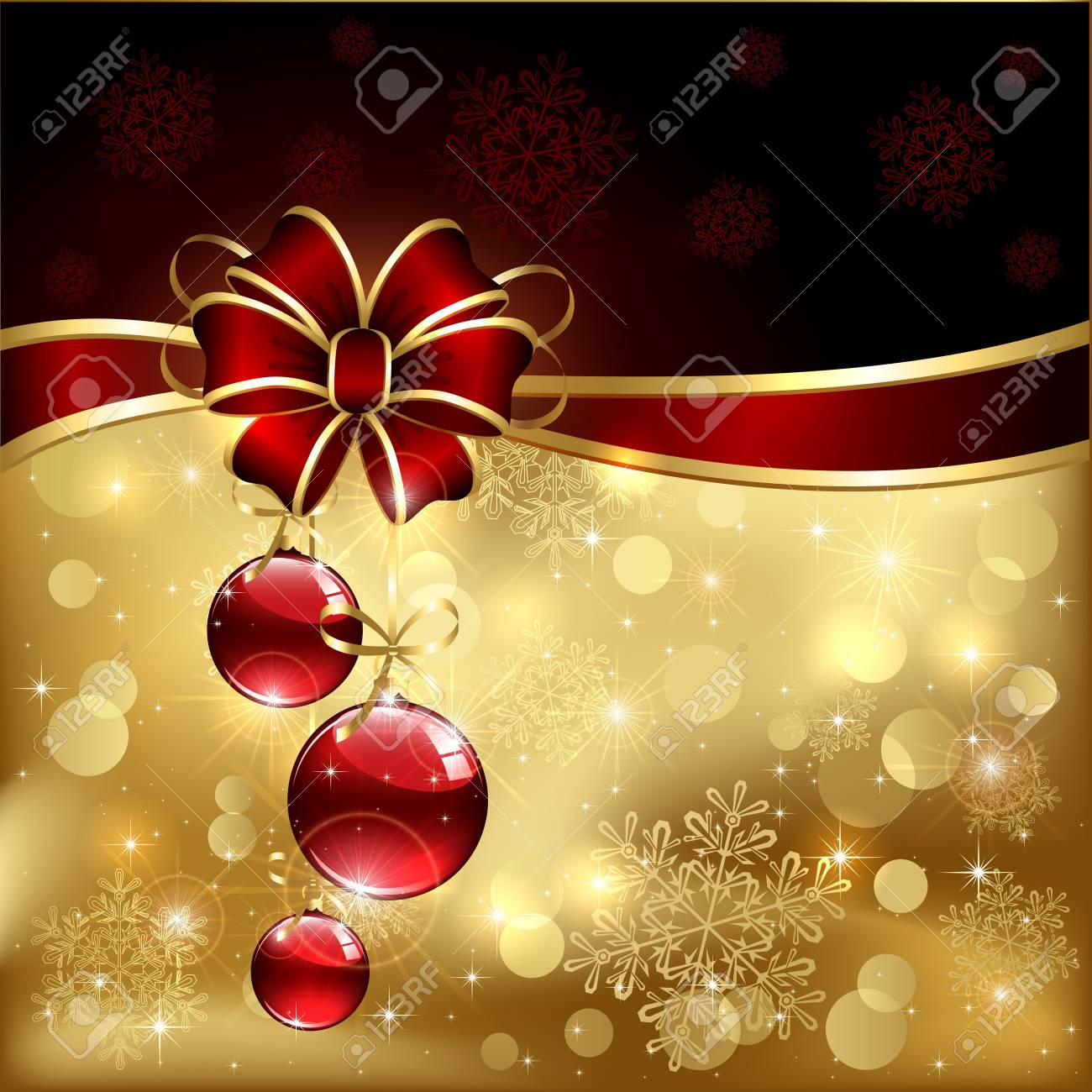 Background with red christmas baubles, illustration. Stock Vector - 16000351