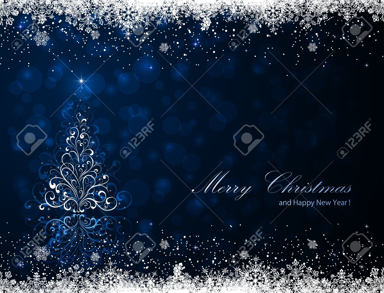 Abstract winter blue background with Christmas tree and snowflakes, illustration. Stock Vector - 16254724