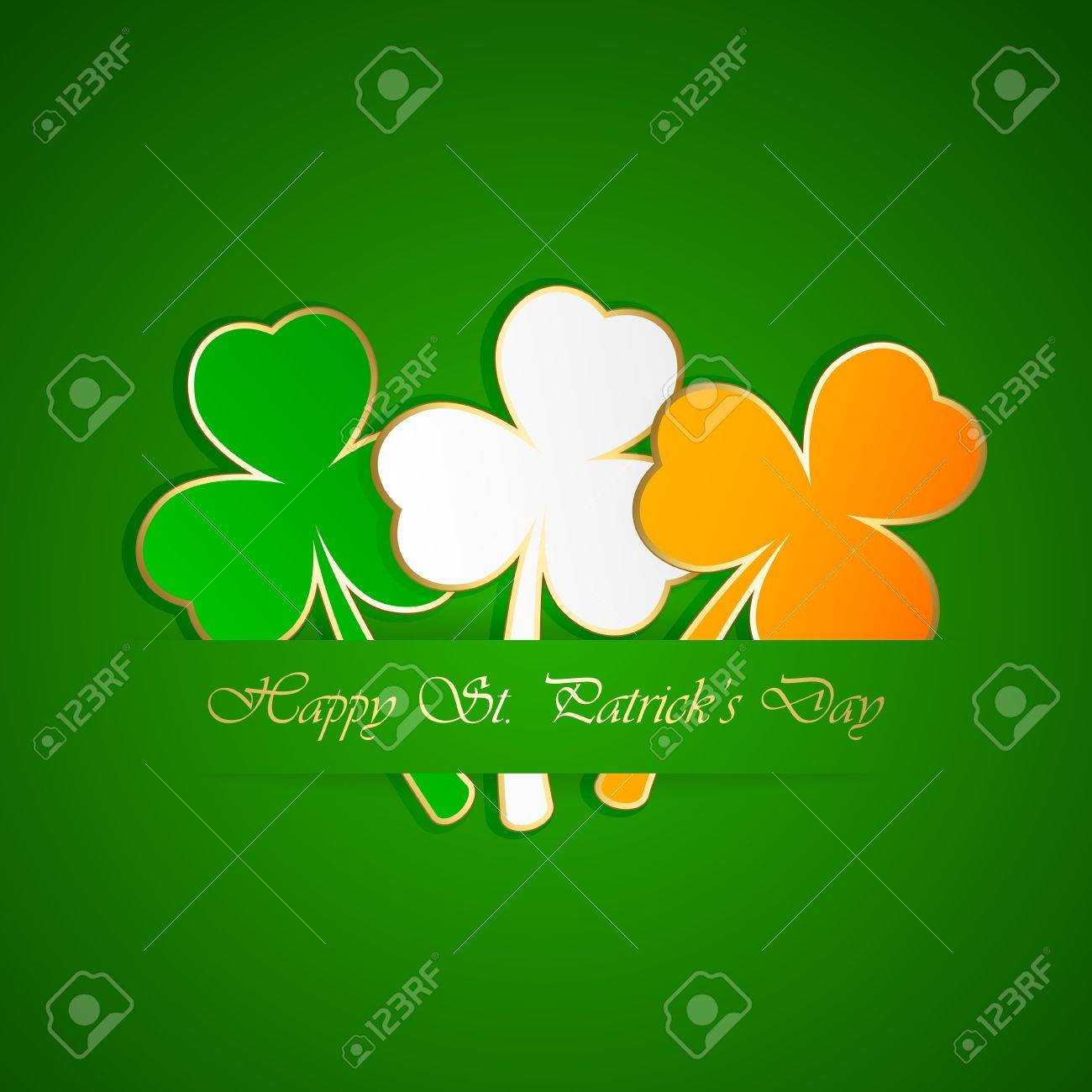 Three-colored leaves of a clover on green background illustration. Stock Vector - 17797460