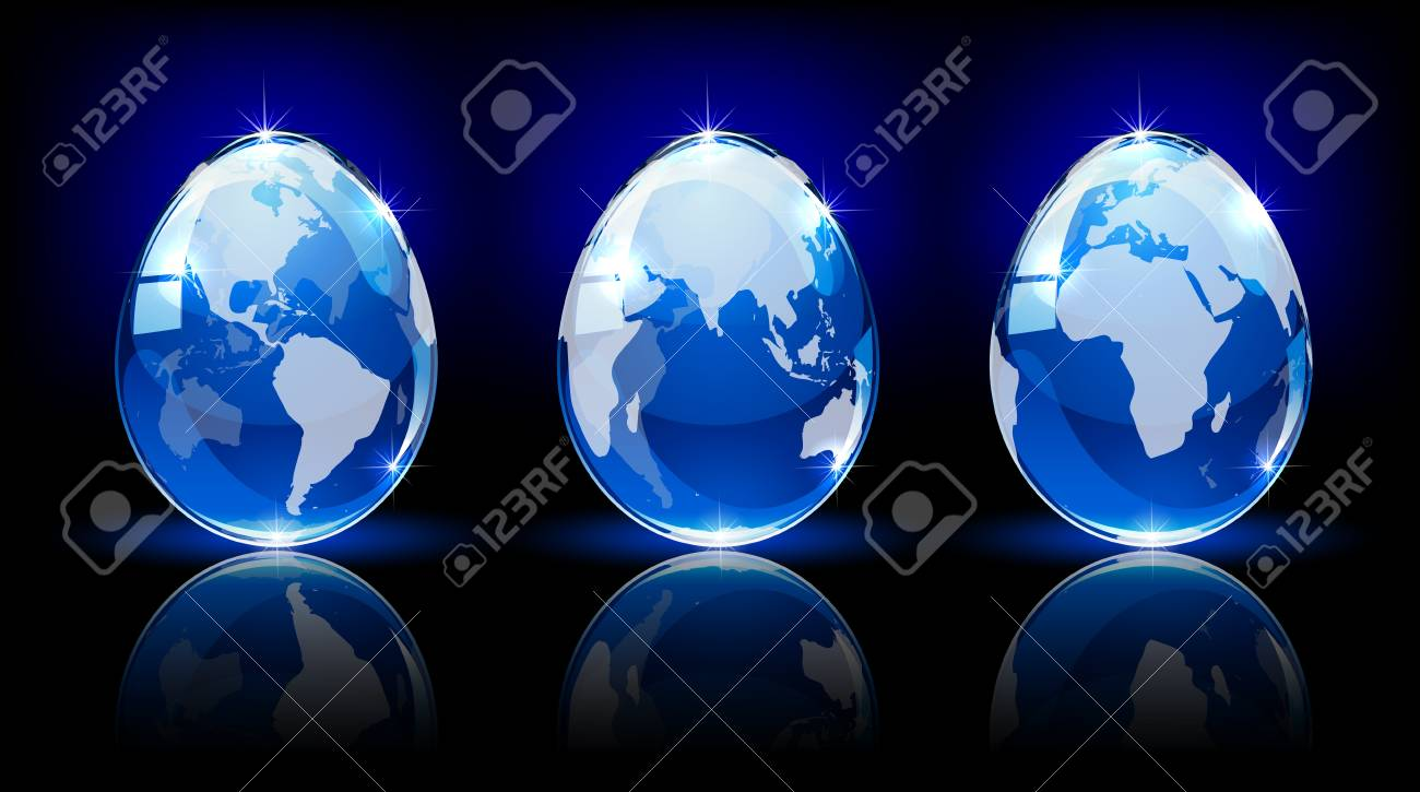 Blue shiny Easter eggs with map on dark background, illustration Stock Vector - 18337317