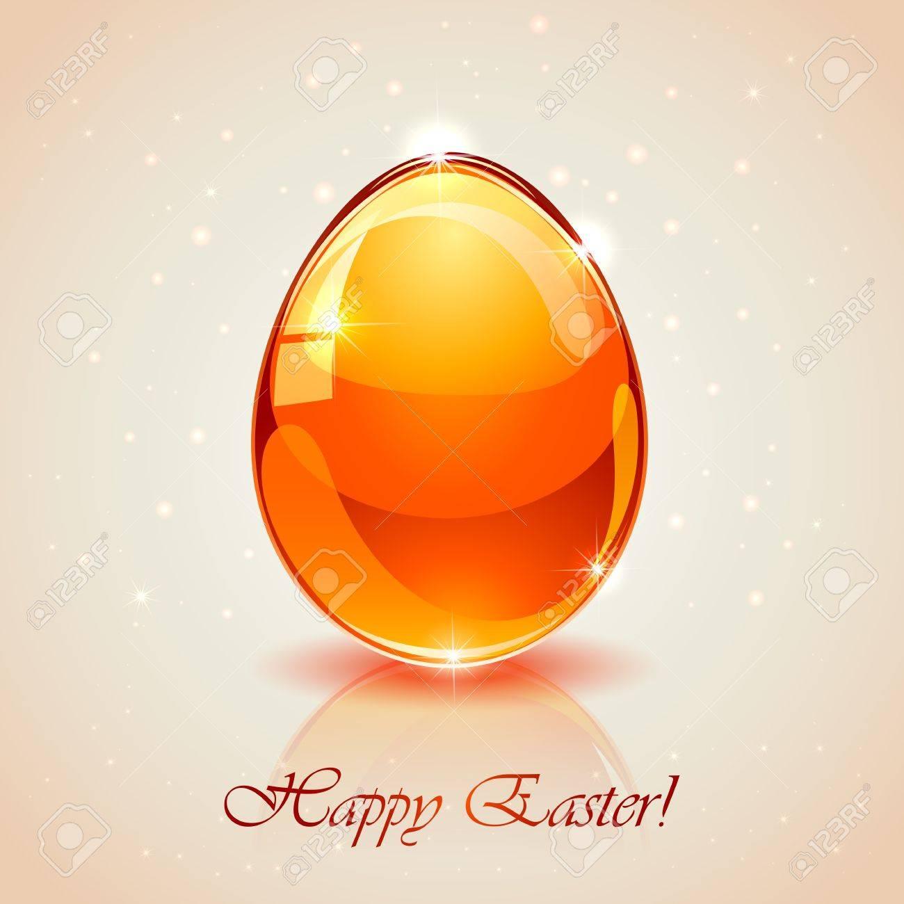 Glass Easter egg on pink background, illustration. Stock Vector - 18764601