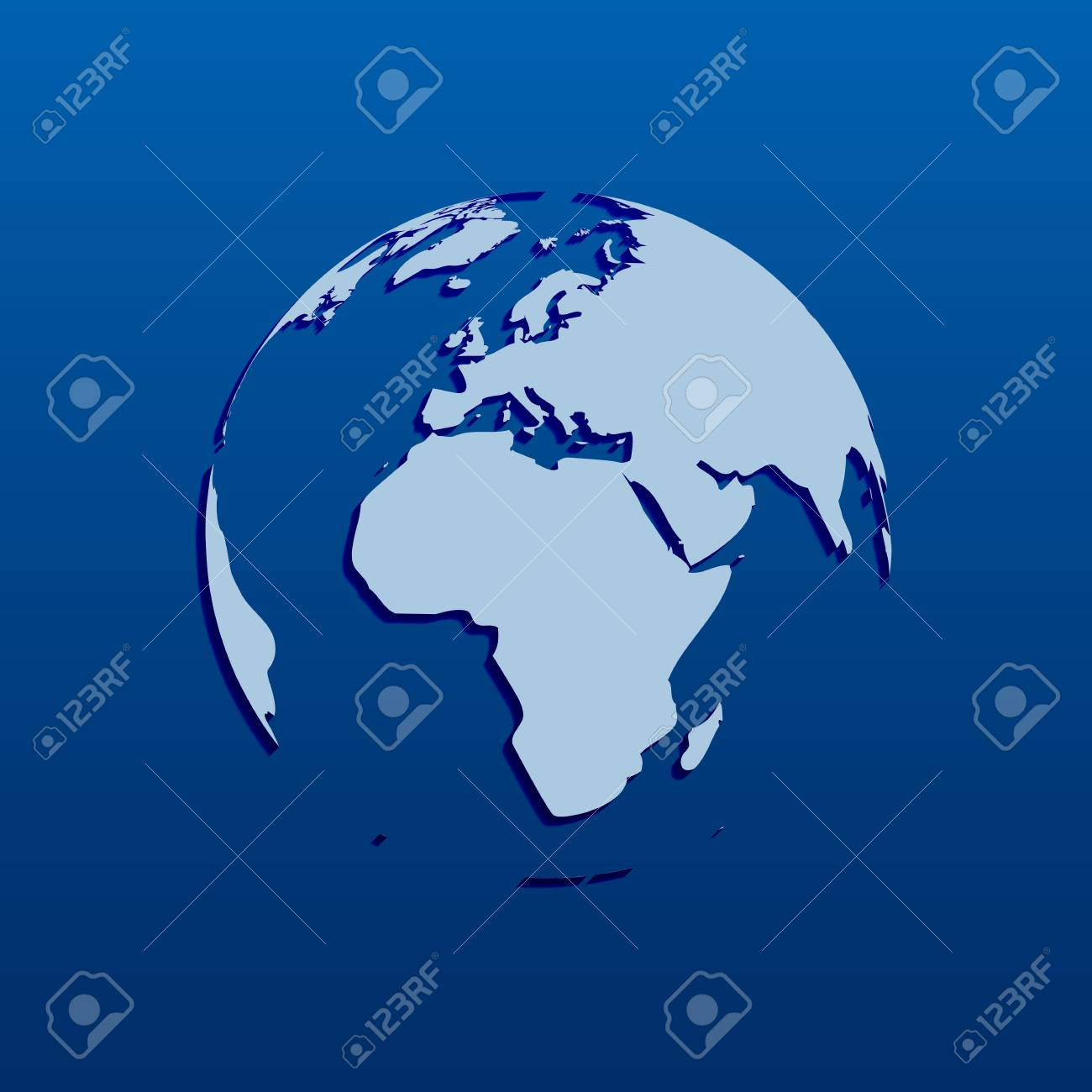 Blue Globe with map on dark background, illustration Stock Vector - 18907408