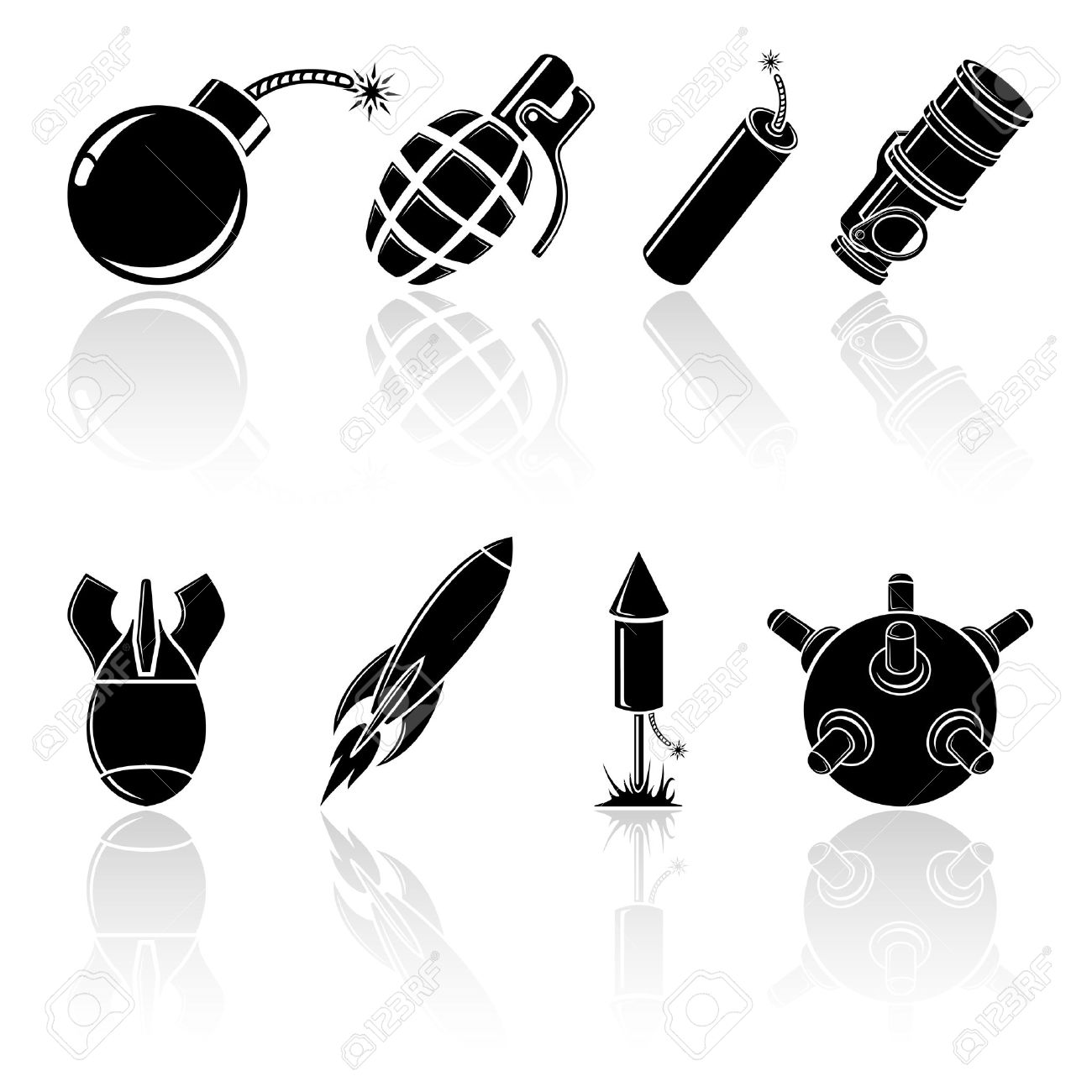 Set of black explosive icons, illustration. Stock Vector - 18990654