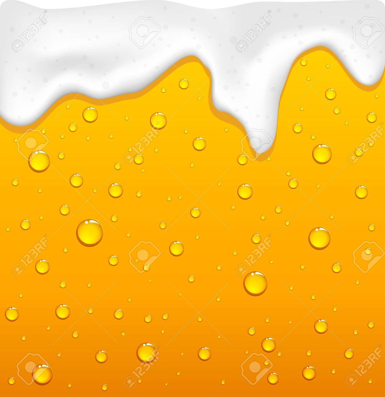 Drops and yellow drink with foam, illustration Stock Vector - 19140820
