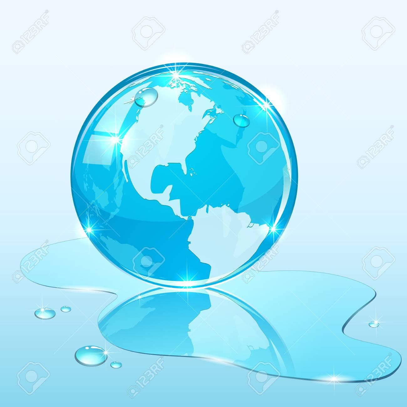 Blue shiny globe on water surface, illustration. Stock Vector - 19584979