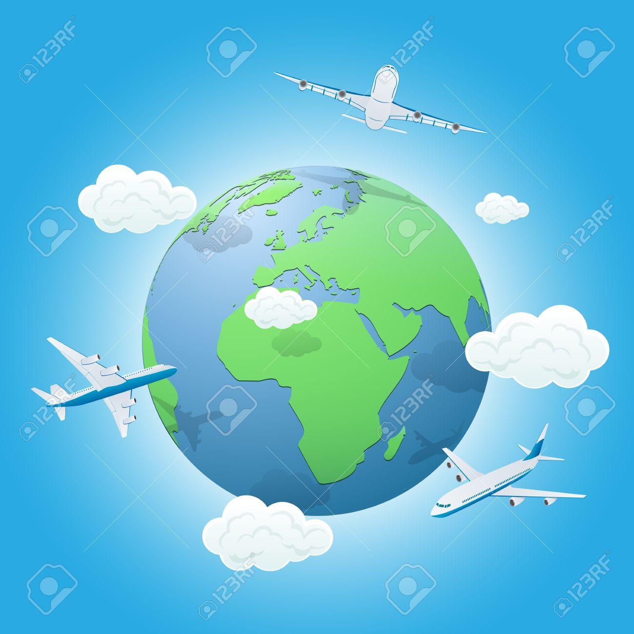 Tres Aviones Volando Alrededor Del Mundo La Ilustración Ilustraciones Vectoriales Clip Art Vectorizado Libre De Derechos Image 20458501