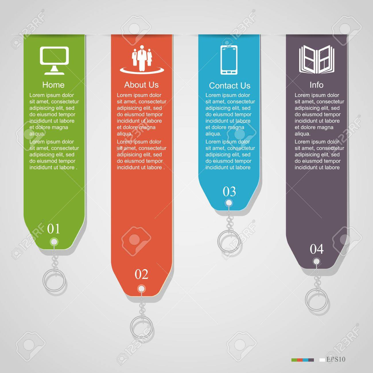 Modern numbered banners, can be used for infographics, diagram, vertical cutout lines, number options, step up options, web template, illustration Stock Vector - 20638008
