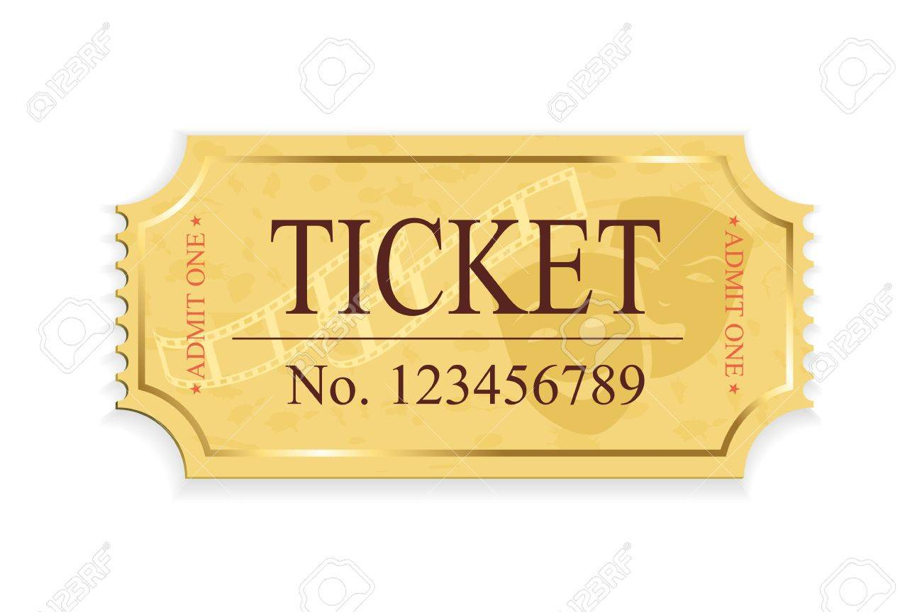 Old cinema ticket isolated on a white background, illustration Stock Vector - 21724477