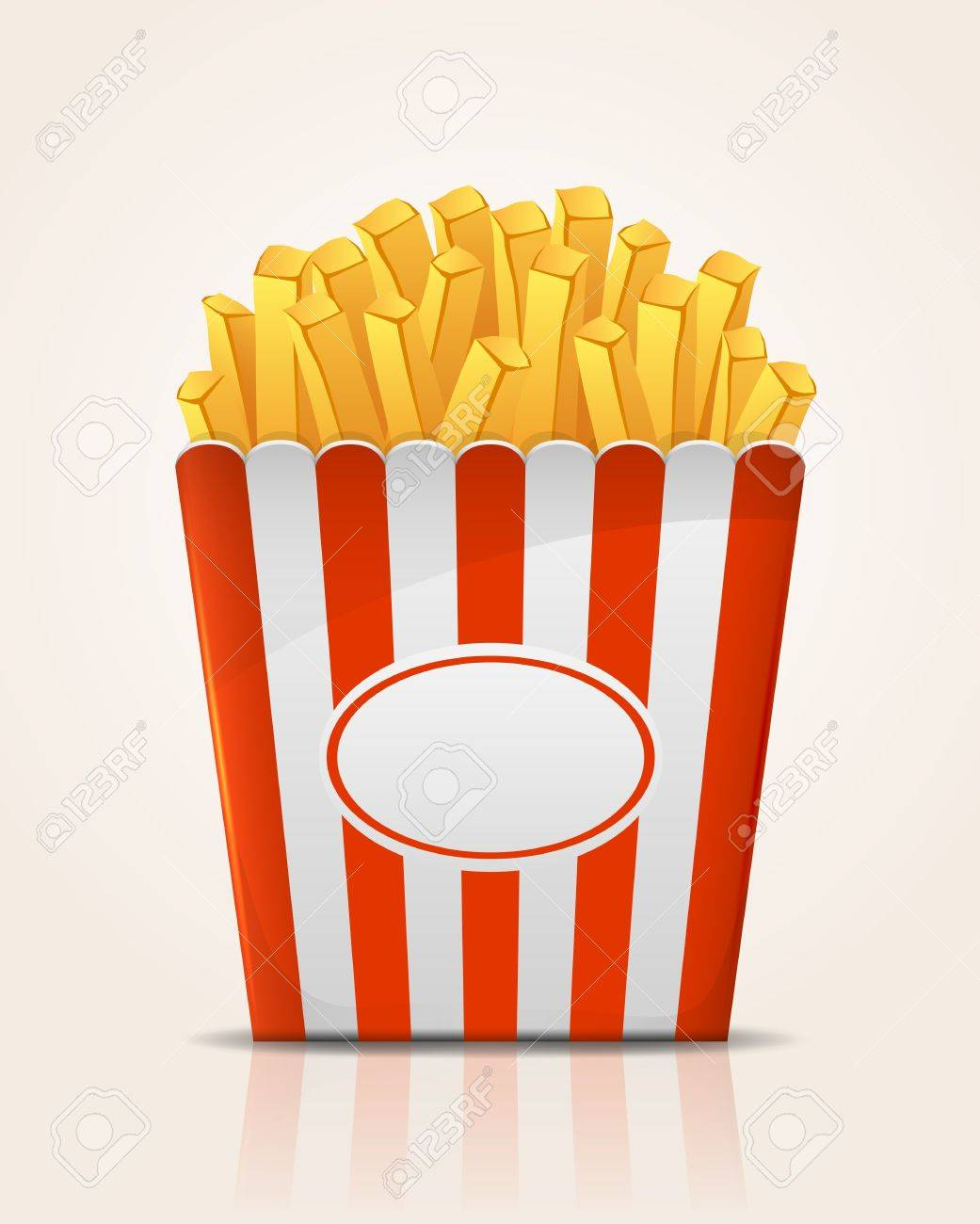 French fries potato in paper bucket, illustration Stock Vector - 21724482