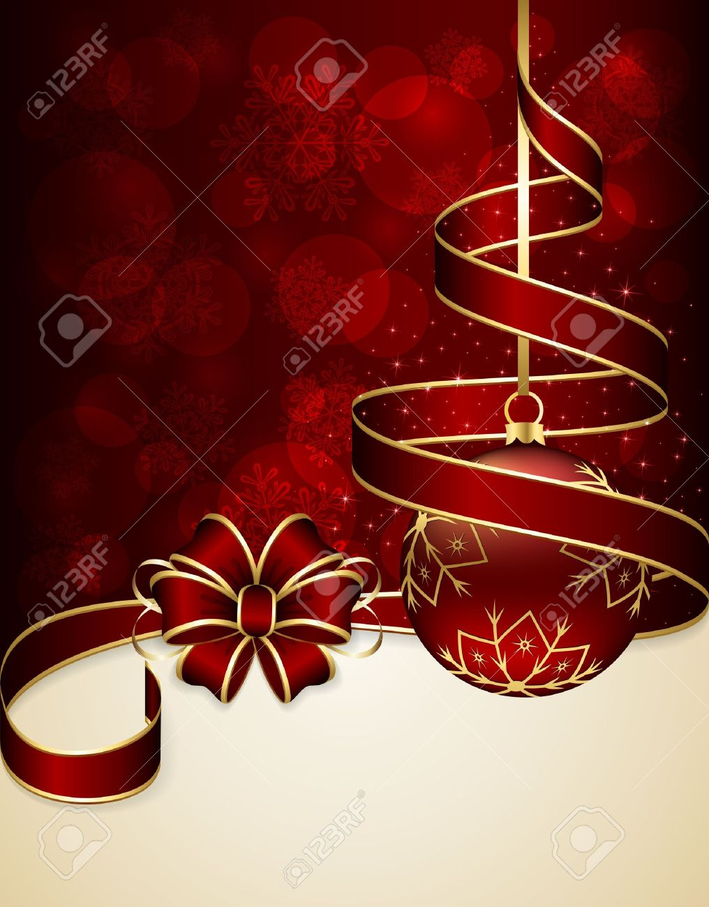 Red Christmas background with ribbon and bauble, illustration Stock Vector - 22011966