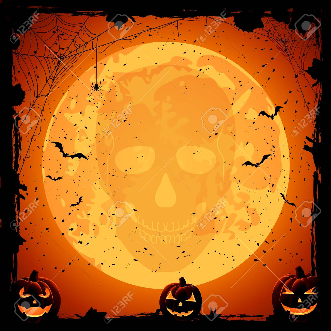 Scary Halloween night background with pumpkins and skull, illustration Stock Vector - 22304389