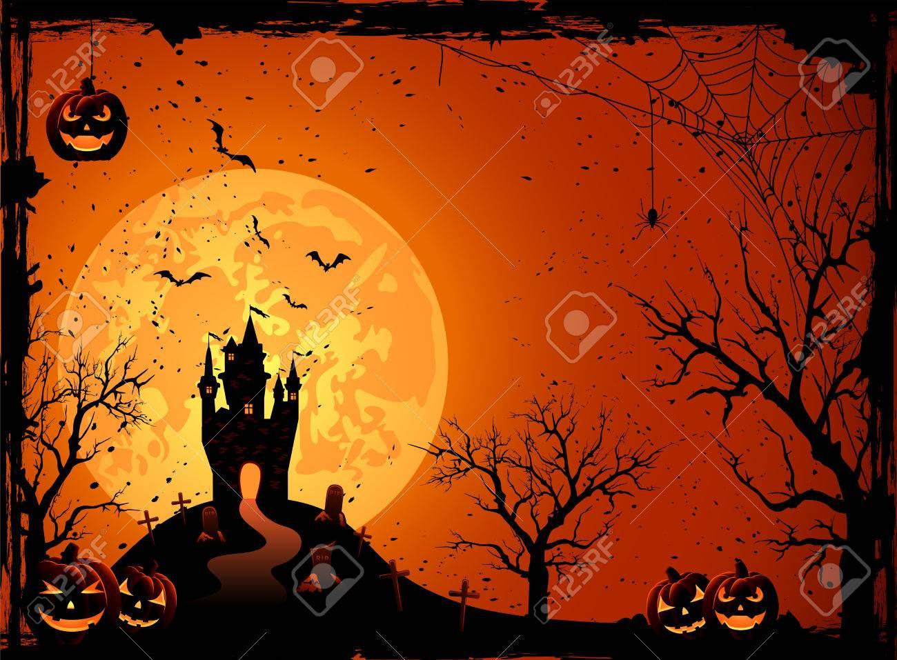 Halloween night, black castle on the moon background, illustration Stock Vector - 22605440