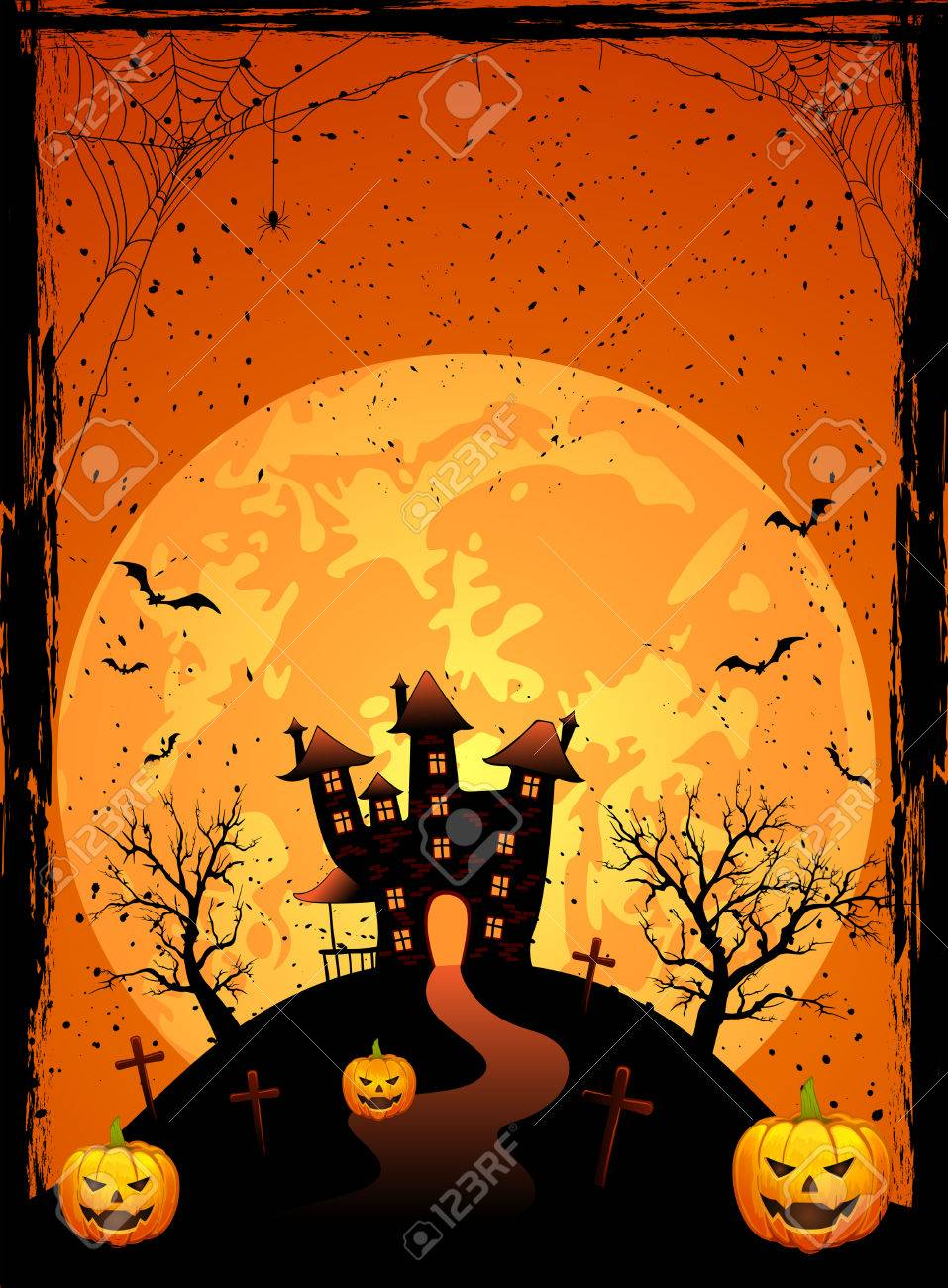 Halloween night, Scary House on the moon background, illustration Stock Vector - 22605493