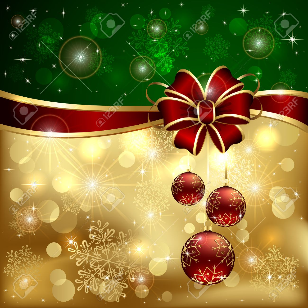 Green - Gold Christmas Background With Red Bow, Three Baubles ...