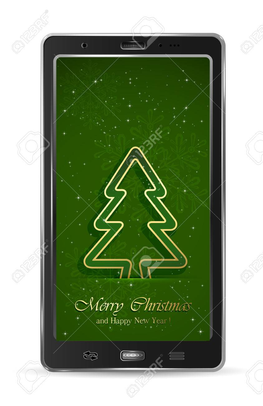 Realistic mobile phone with paper Christmas tree on green background, illustration Stock Vector - 23858583