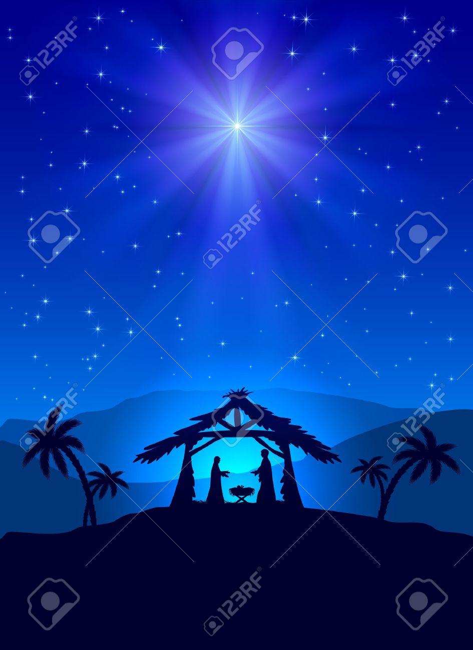 Christian Christmas Night With Shining Star And Jesus, Illustration ...