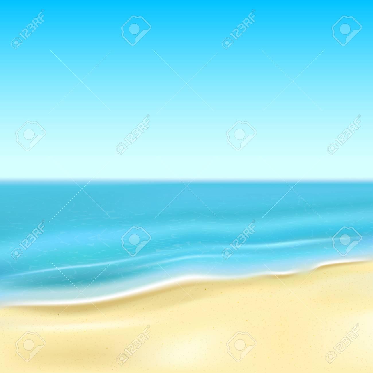 砂浜のビーチと海、イラスト背景 ロイヤリティフリークリップアート