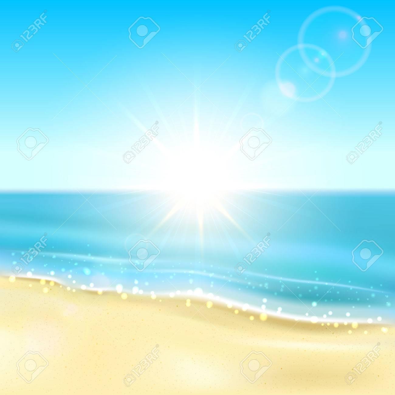 砂浜のビーチと輝く海イラストと日当たりの良いバック グラウンドの