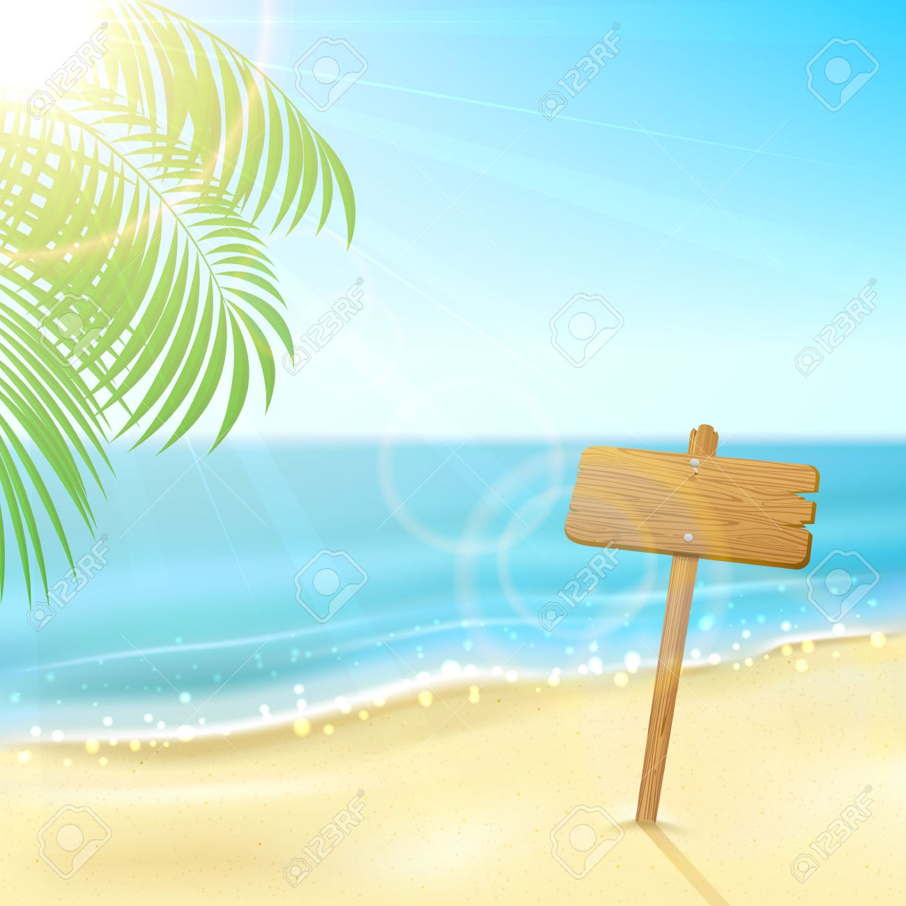 Tropical Background With Wooden Sign On Sandy Beach Illustration Stock Vector