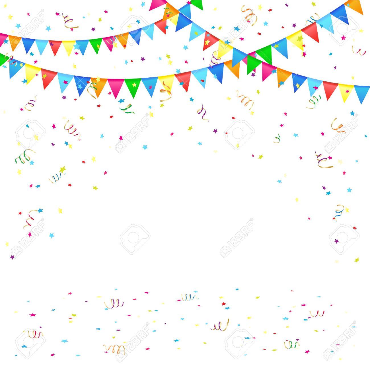 お祭りの背景色のペナントと紙吹雪、イラスト ロイヤリティフリー