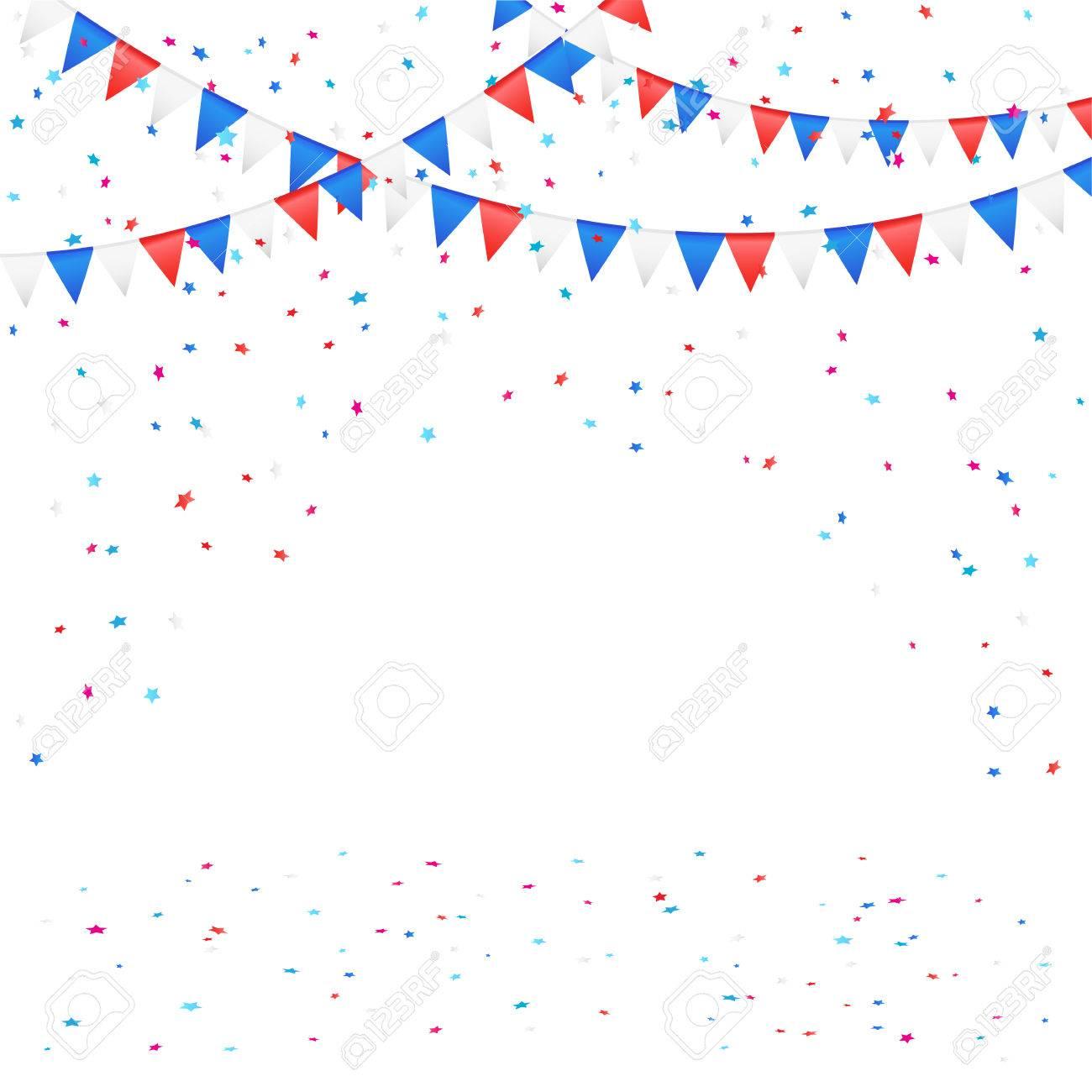 独立記念日の背景色のペナントと紙吹雪、イラストに ロイヤリティフリー