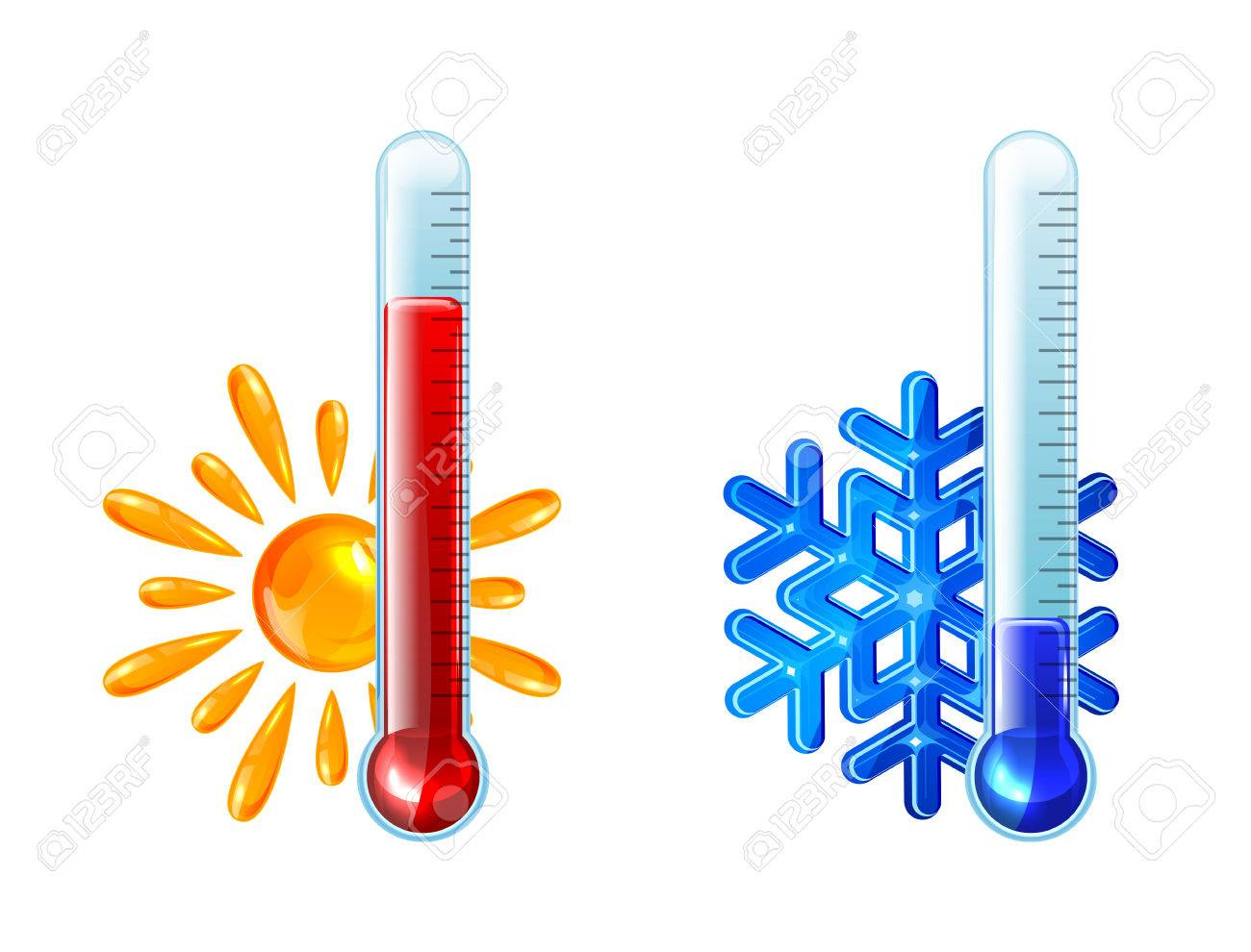 Set of thermometers with red and blue indicator isolated on white background, illustration - 30018724