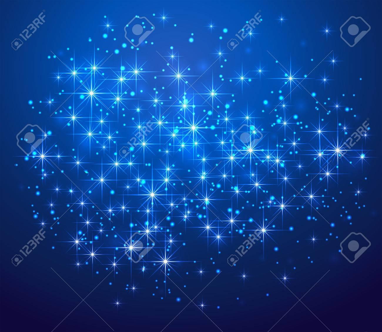 輝く星とぼやけてライト、イラスト背景青 ロイヤリティフリークリップ