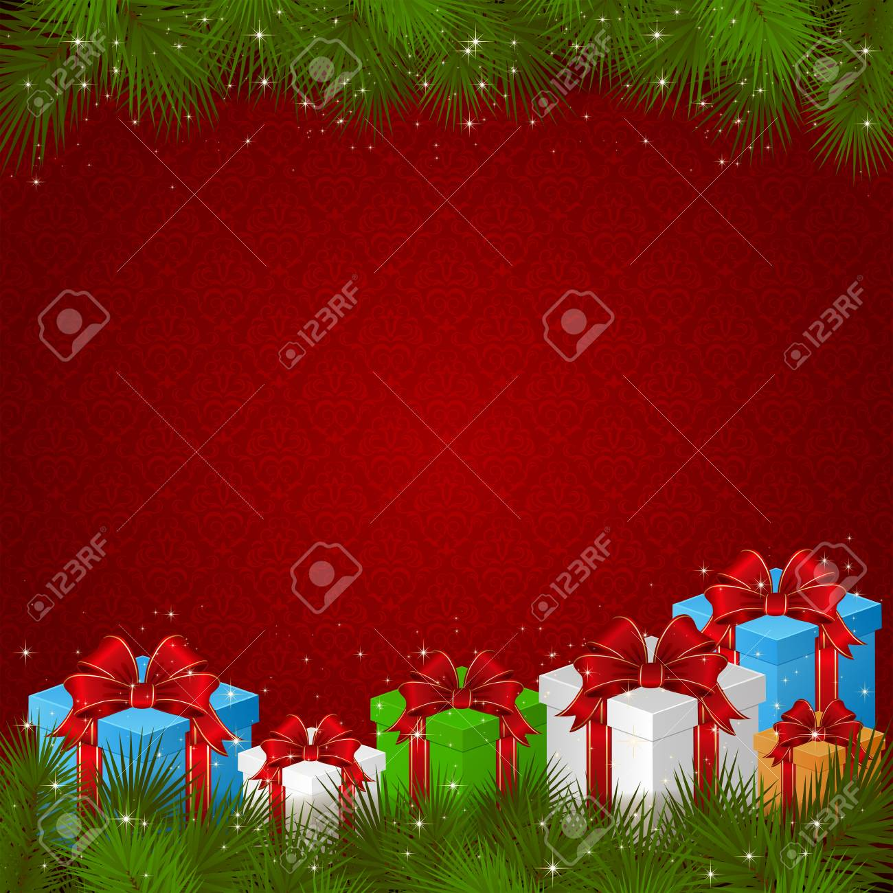 red wallpaper with gift boxes and branches of christmas tree
