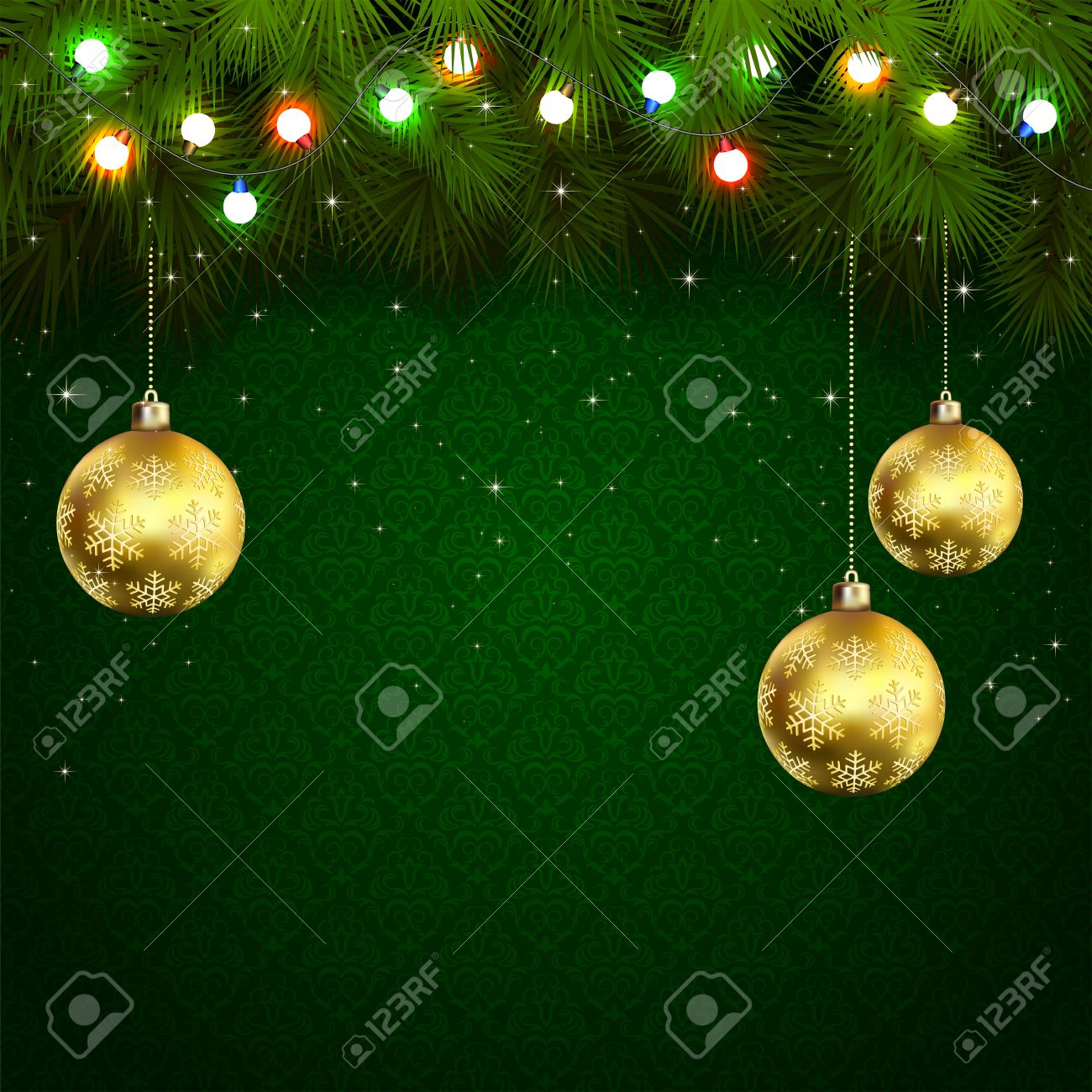Green Wallpaper With Branches Of Christmas Tree, Baubles And ...