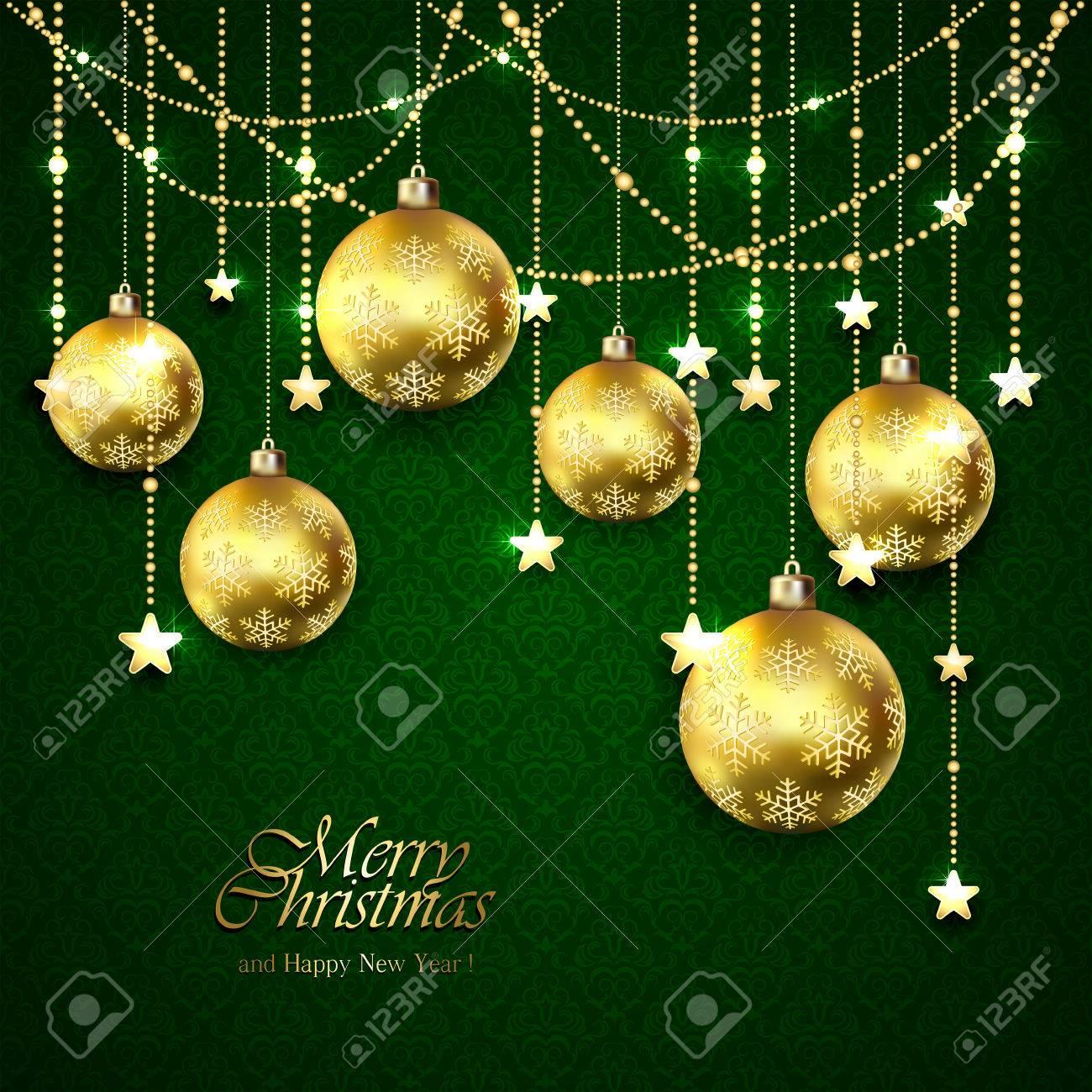 クリスマスの背景にゴールデン ボールシームレスな壁紙イラスト上の