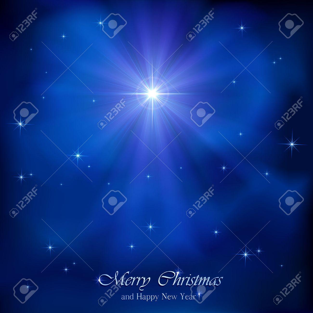 Shining Christmas star in the blue night sky, illustration. - 32794015