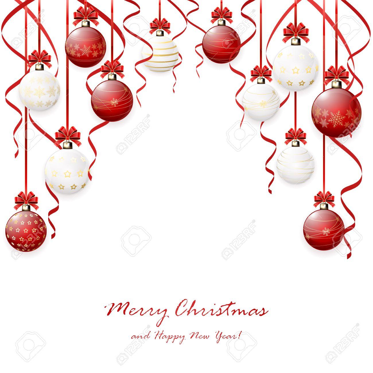 Rouge Accroché En Boules De Noël Et De Guirlandes Sur Fond Blanc