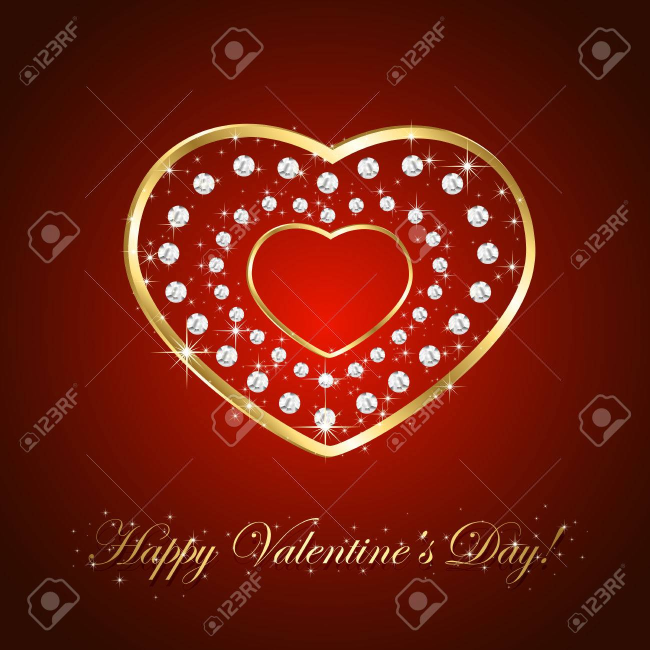 red background with shiny golden hearts and diamonds illustration