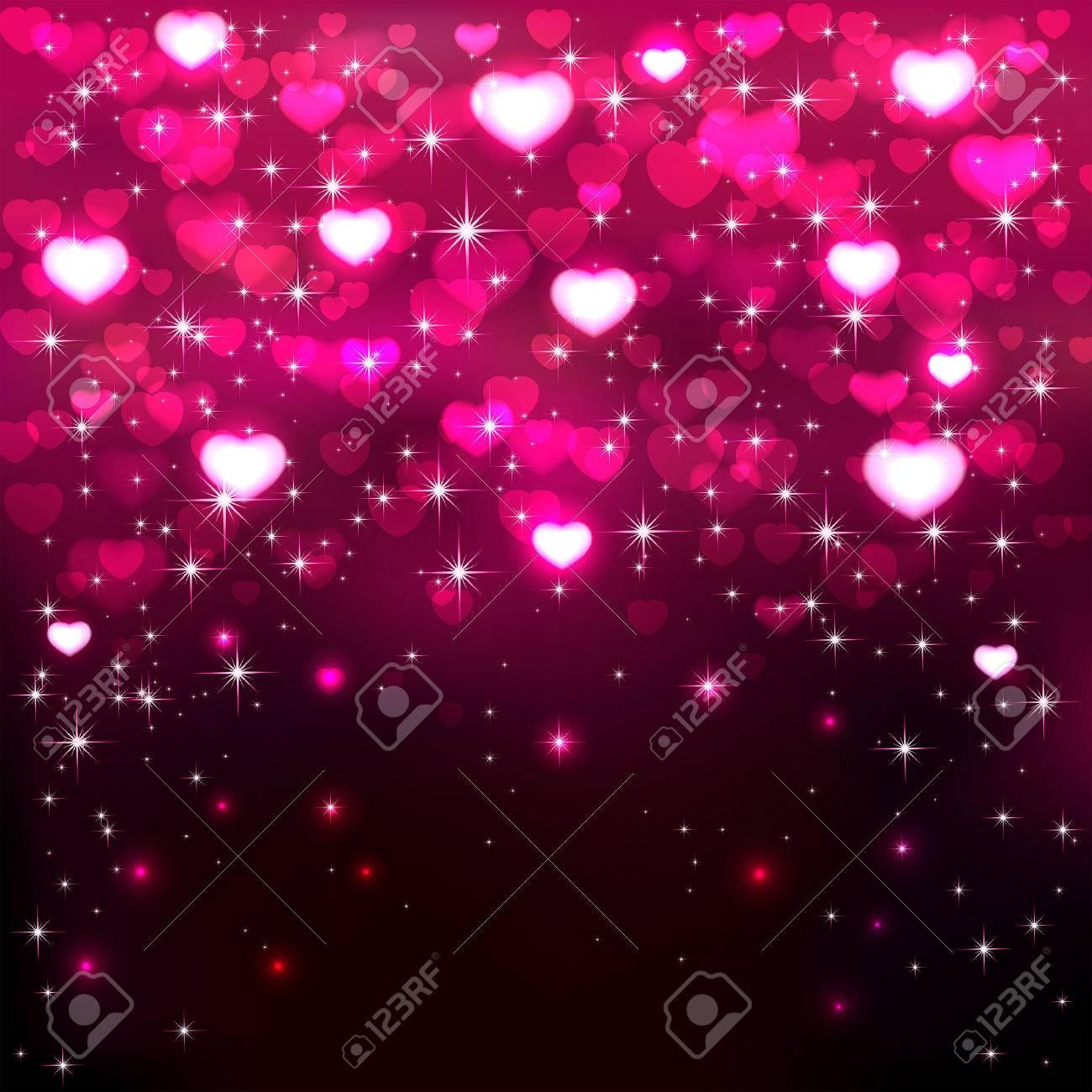 Fondo Oscuro Con Brillantes Corazones De Color Rosa Y Las Estrellas