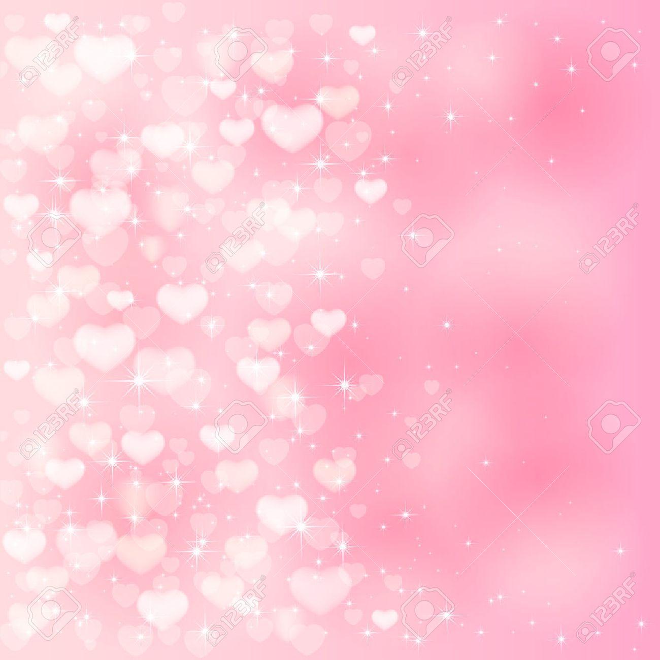 ピンクのハートや星、イラストとぼやけてバレンタイン背景