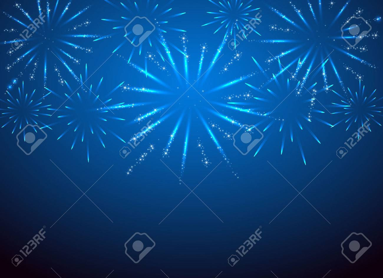 Sparkle fireworks on the blue background, illustration. Stock Vector - 42141507