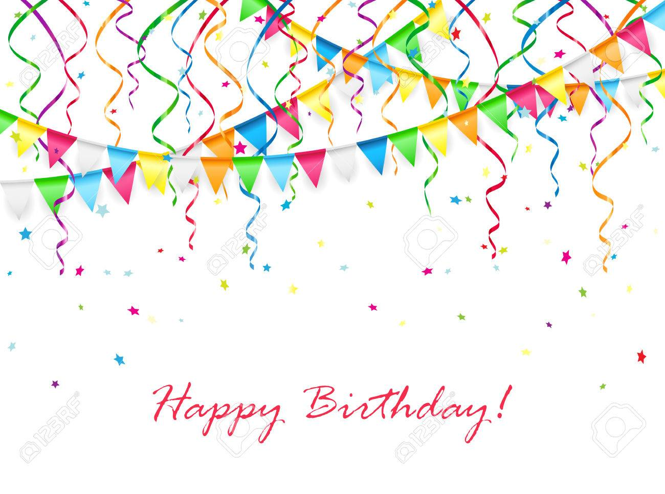 Birthday background with multicolored pennants, streamers and confetti, illustration. - 42613551