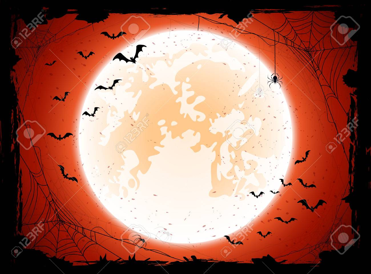 Grunge Halloween background with shining Moon, bats and spiders, illustration. - 42909780