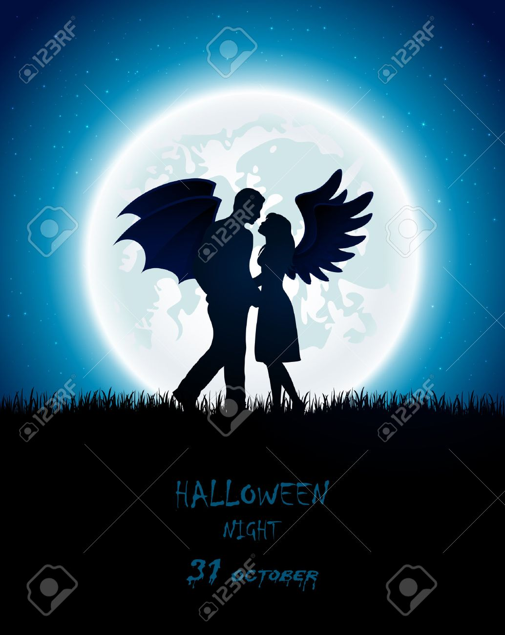 Dark Halloween night with enamored couple of angel and devil, full Moon on the sky background, illustration. - 43177049