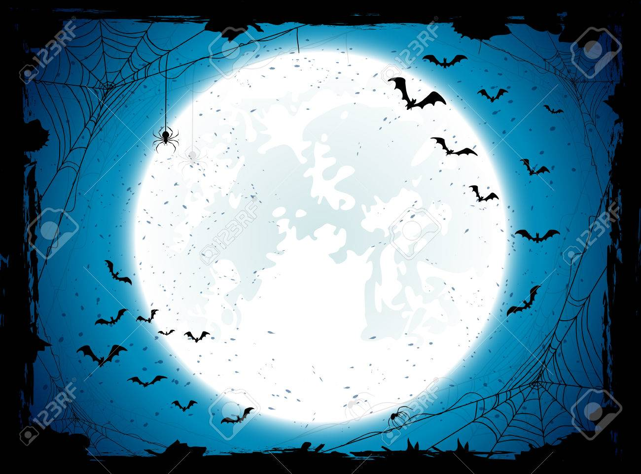 Dark Halloween background with Moon on blue sky, spiders and bats, illustration. - 43539916