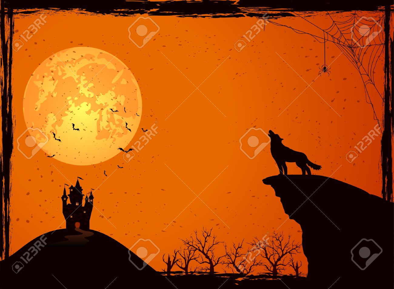 halloween night background with wolf castle moon cemetery and bats illustration - Wolf Halloween