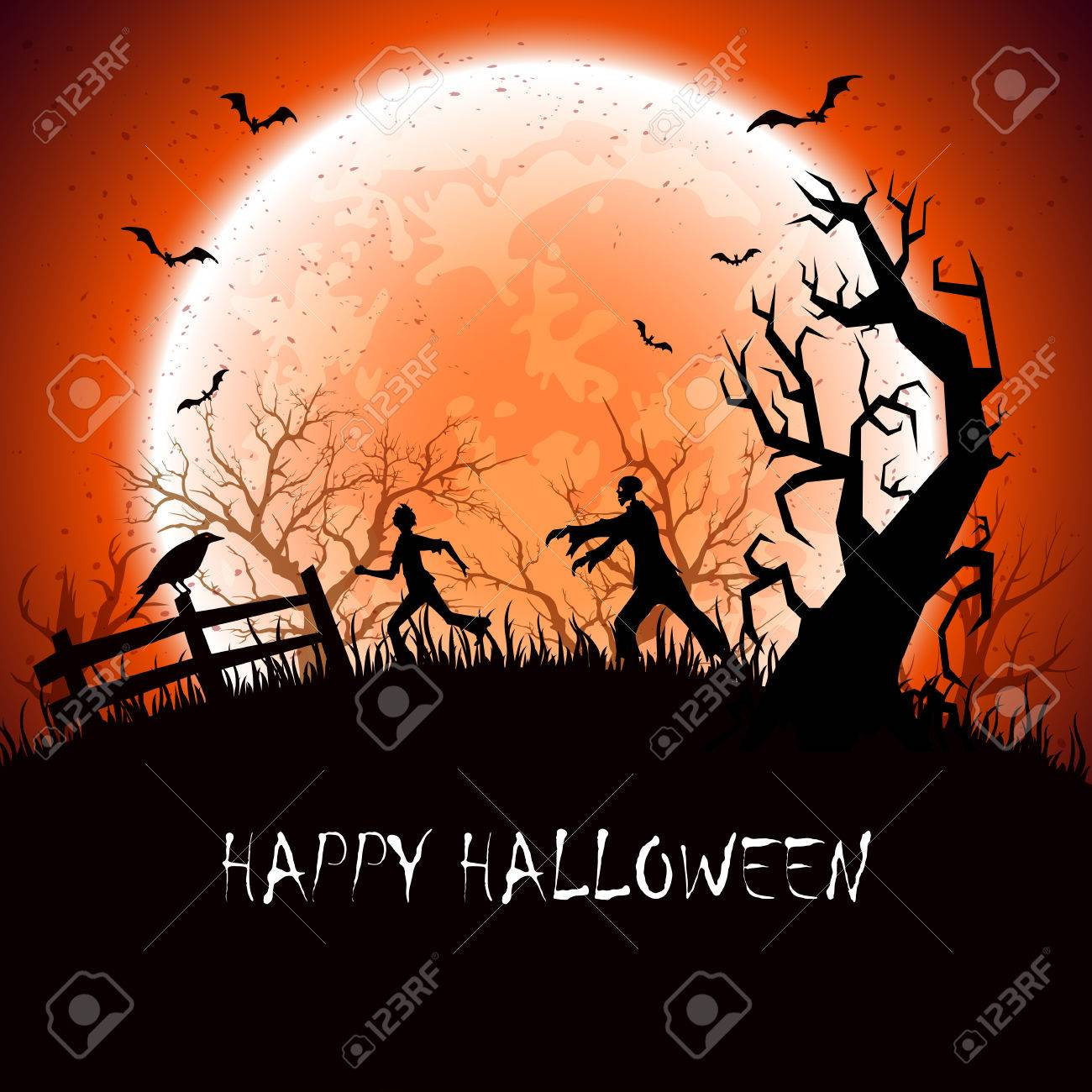 Halloween background with scary zombie and fearfulness running man, illustration. - 43636911